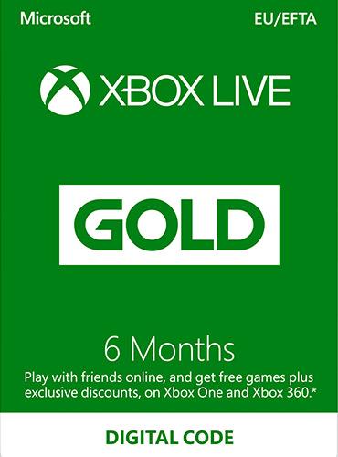 Xbox LIVE Prepaid 6 Month Gold Membership Card